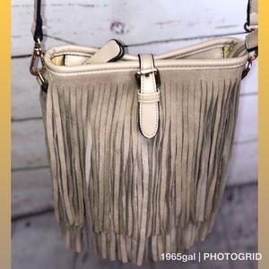 Handbags - Fringe suede light tan bucket Bag Crossbody Handle